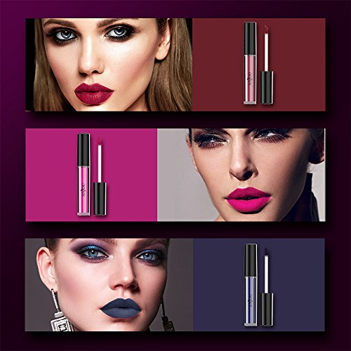 Anjou 6 Colors Matte Liquid Lipstick Set, Long Lasting Creamy Waterproof Lip Gloss, All-Day Smudge Proof Makeup with Non-Toxic Formula, Christmas Gift for Wife, Girlfriend, Women