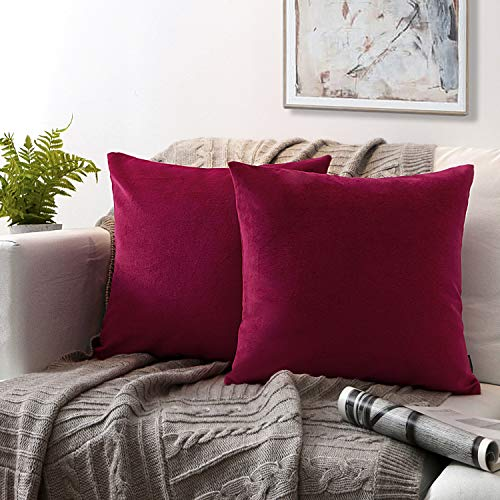 Phantoscope Set of 2 Soft Cozy Velvet Throw Pillow Solid Square Cushion Cover Wine Red 18