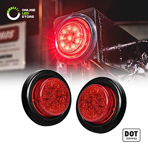 2PC 2 Round 10 LED Light [2 in 1 Reflector] [Polycarbonate Reflector] [10 LEDs] [D.O.T. Certified] [2 Year Warranty] Side Marker Light for Trucks and Trailers - Red