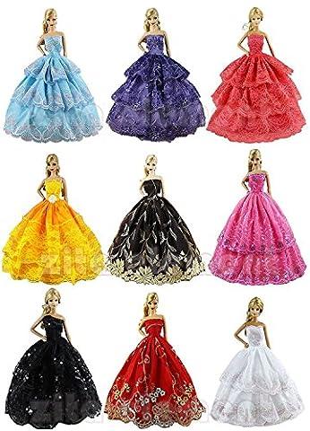 ZITA ELEMENT Lot 6 PCS Fashion Handmade Clothes Dress for Barbie Doll XMAS GIFT