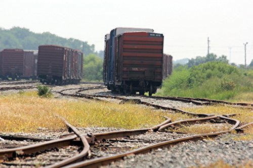 Home Comforts Peel-n-Stick Poster of Freight Trains Boxcar Rail Transportation Track Poster 24x16 Adhesive Sticker Poster Print ()
