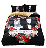 KTLRR 3D Skull Wedding Bedding Sets,Polyester Eternal Love Rose Modern Skull Wedding Dress Duvet Cover Set,No Comforter,King Size (skull wedding, King 3pcs)