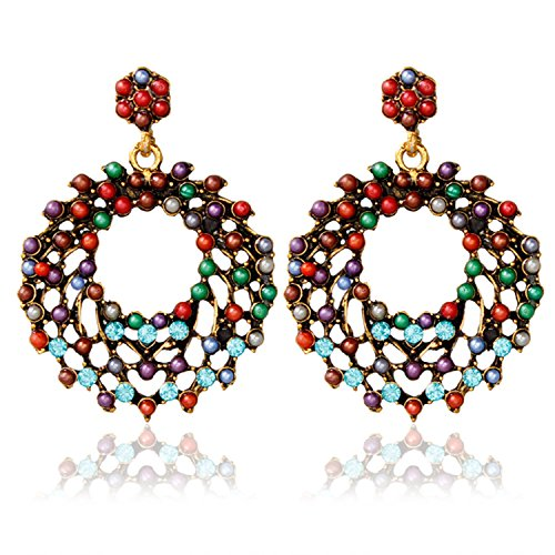 d Earrings for Women Dangle Rhinestone Ear Stud Jewelry Ethnic Sequin Hook Vintage Teardrop Gift ()