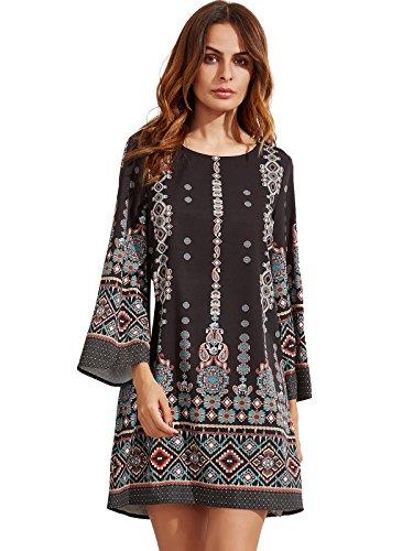 (Milumia Women's Bohemian Aztec Print Ethnic Style Summer Shift Dress (X-Large, Black_Aqua))
