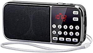 PRUNUS J-189 Portable Radio AM FM Small Bluetooth Radio - Dual Speaker Heavy Bass, LED Flashlight, Pocket Size, TF Card USB AUX MP3 Player, Rechargeable Battery Operated(Black)
