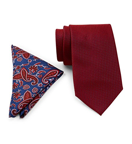 Tommy Hilfiger Paisley Tie (Tommy Hilfiger Men's Grenadine Silk Tie & Paisley Pocket Square Boxed Set, OS (Red))