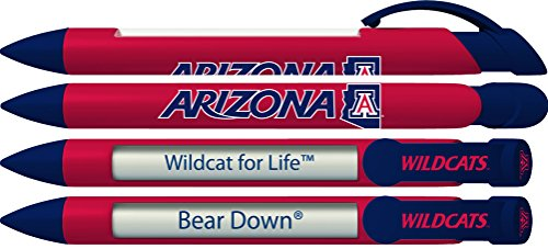 University of Arizona Wildcats Rotating Message Pens - 4 pack (8058) Officially Licensed Collegiate Product