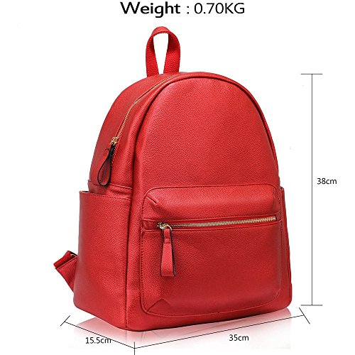 Ladies Travel Backpack Large New Leather Design 1 Fashion Bags Womens Red Rucksack School rrcZgBq6