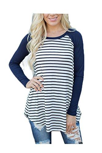 ICOCOPRO Women's Cotton Long Sleeve Raglan Striped Blouse T-Shirt Tops - Medium