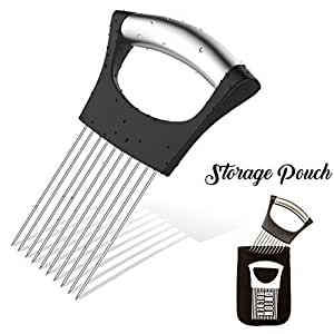 Noosa Life | Onion Holder For Slicing | STORAGE POUCH INCLUDED | Vegetable Potato Cutter Slicer | FULL GRIP HANDLE | Odor Eliminator | Stainless Steel Cutting Kitchen Gadget | Onion Peeler