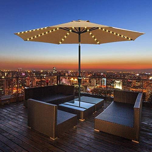 HITECHLIFE Patio Sombrilla Cadena De Luz Led Solar con Control ...