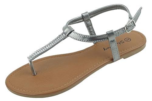 fa96c487dd2 SBG Womens Slingback Buckle T-Strap Rhinestone Flat Thong Flip-Flop Shoes  Sandals Pewter