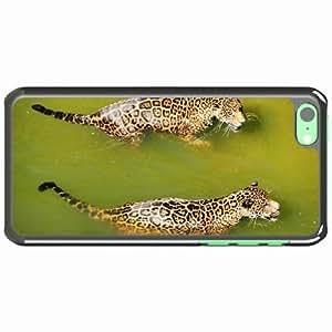 iPhone 5C Black Hardshell Case leopards water swim predators big cats Desin Images Protector Back Cover