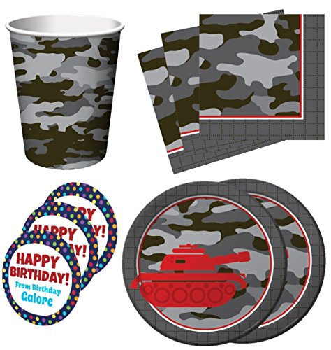 Operation Camo Gray Camo Birthday Party Supplies Set Plates Napkins Cups Kit for 16 Plus Stickers