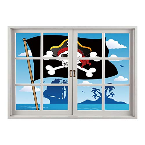 SCOCICI Wall Sticker,Window Looking Out Into/Pirate,Danger Sign Beware of Pirates Skull with Hat Cross Bones Flag Deserted Island Decorative,Blue Black White/Wall Sticker Mural