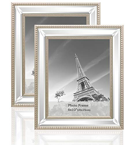 (meetart 8x10 2 Pack Mirror Photo Frames Sets for Wall Pictures Decor or Table Stand)