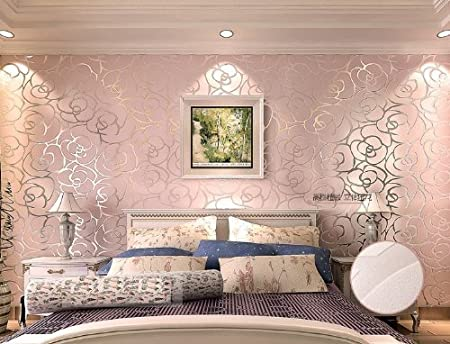 QIHANG High-grade Rose Flower Pattern Flocking Embossed Wallpaper ...