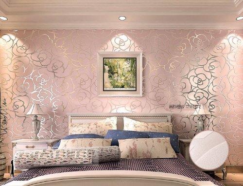 HANMERO High-grade Rose Flower Pattern Flocking Wallpaper Roll ...