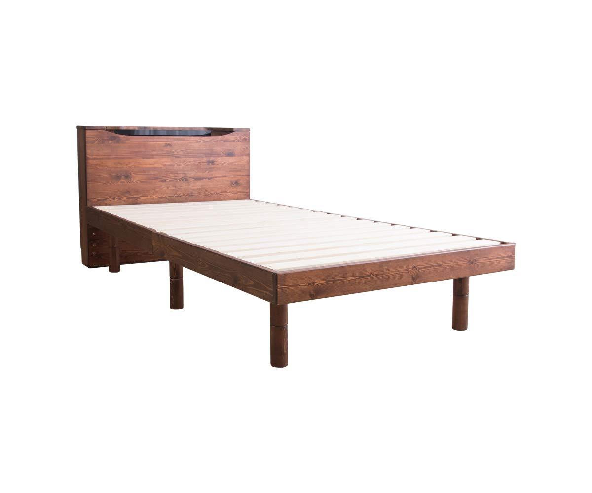 すのこベッド シングル ベッド LED照明付き コンセント付き フレームのみ アンティークブラウン 頑丈 シンプル 天然木フレーム 高さ2段階すのこベッド 宮付き 脚 高さ調節 すのこ 木製ベッド フロアベッド ローベッド B07QC5JHNM アンティークブラウン シングル
