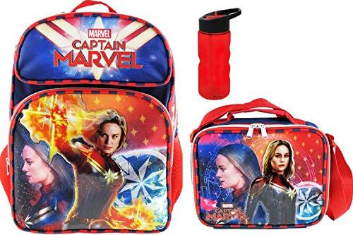 Captain Marvel Superhero Girl Deluxe 3D Backpack, Insulated Lunch Tote PLUS 22 oz Bottle