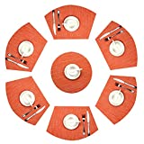 U'Artlines Wedge Place Mat With Center 14 Inch Round placemats Heat Insulation Stain-resistant Washable Vinyl Placemats Set of 7 (Set of 7, Orange)