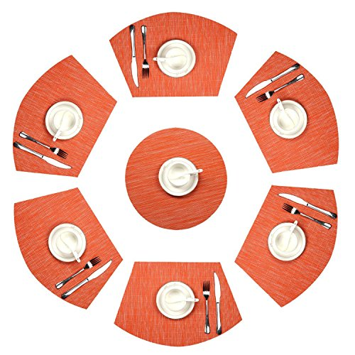 U'Artlines Wedge Place Mat With Center 14 Inch Round placemats Heat Insulation Stain-resistant Washable Vinyl Placemats Set of 7 (Set of 7, (Orange Place)