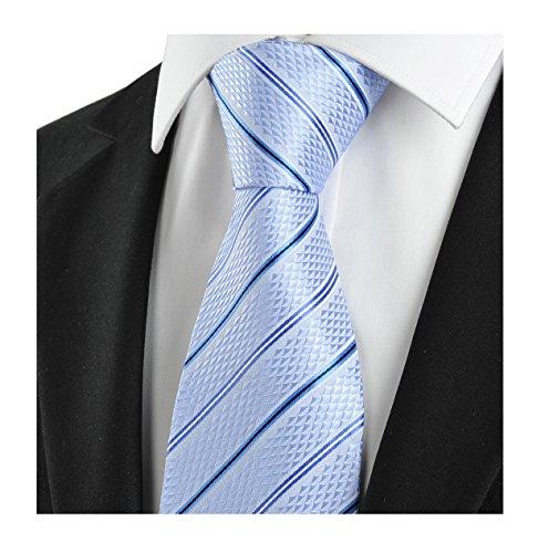 L04BABY Men's Classic Striped Light Blue Jacquard Woven Silk Tie Formal Necktie -