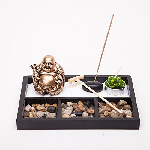 Asian Japanese Feng Shui Sand Zen Garden Buddha Incense & Candle - Garden Shui Feng