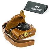 "MegaGear ""Ever Ready"" Protective Light Brown Leather Camera Case , Bag for Sony DSC-RX100M II Cyber-shot Digital Still Camera RX100 II, Sony Cyber-shot DSC-RX100 III Digital Camera"