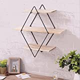 Lidjnfl Rhombus Iron, Wooden Wall, Bookshelf, Rack, Antique Wooden Wall, Hanging Frame, Creative Wall Partition.