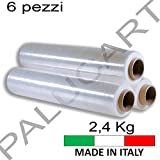 PALUCART-Pellicola film estensibile trasparente autocollante h 500mm spessore 23 my 2,4 KG confezione da 6 rotoli top quality made in italy (400)