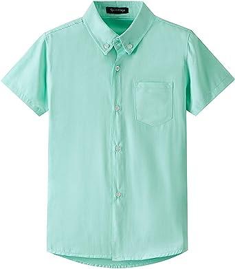 Spring&Gege Camisa Oxford de manga corta para niño de algodón sólido