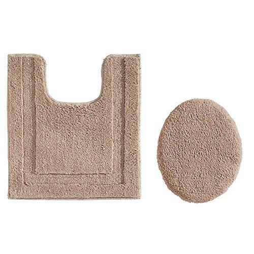 Contour Spa Pillow (InterDesign 2-Piece Bathroom Set: Spa Microfiber, Non-Slip Contour Rug, Oval Toilet Lid Cover – Linen)