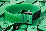 Islandoffer Wholesales 30 PCS 7 Inch Reusable Cable Ties and Cinch Straps, Adjustable Multipurpose Hook and Loop Securing Straps for Cord Management and More ,Green