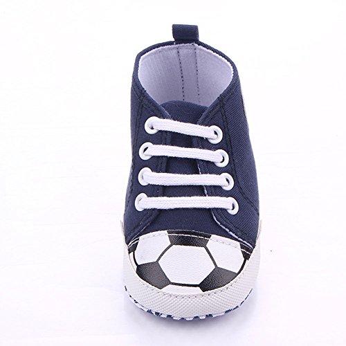 etrack-online Baby Boy Primera Walkers Cute patrón de fútbol deportes zapatillas zapatos rojo rosso Talla:12-18months azul oscuro