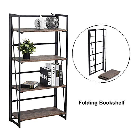Coavas Folding Bookshelf Rack 4-Tiers Bookcase Home Office Shelf Storage Rack No-Assembly Industrial Stand Sturdy Shelf Organizer 23.6 X 11.6 X 49.2 Inches by Coavas