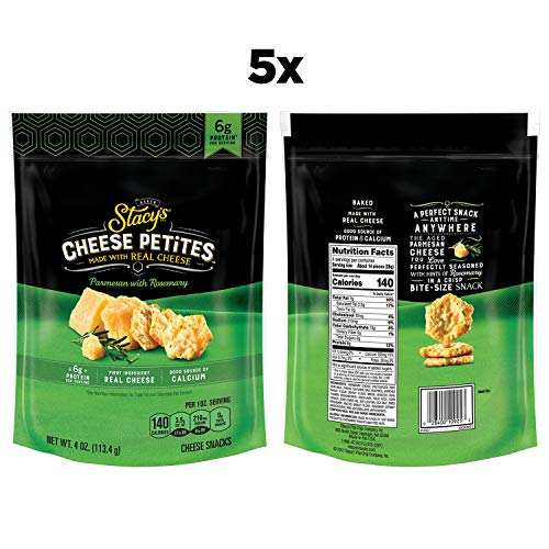 Stacy's Cheese Petites, Parmesan & Rosemary, 6g Protein Per Serving, Made With Real Cheese, 4oz Bags (5 Pack)