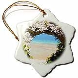 3dRose orn_6277_1 Mackinac Island Arch-Snowflake Ornament, Porcelain, 3-Inch