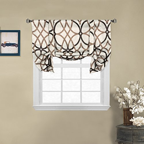 """H.VERSAILTEX Thermal Insulated Tie-Up Valence Window Curtain, 33""""Wx29""""L, Taupe and Brown Geo Pattern For Sale"""