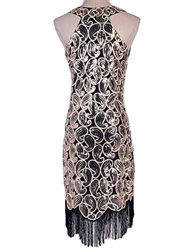 Tina Vent Beautiful Women's 1920s Sequin Paisley Pattern Fringe Gatsby Costume Flapper Dress XXL Black Elegant Black (Ebay Flapper Costumes)