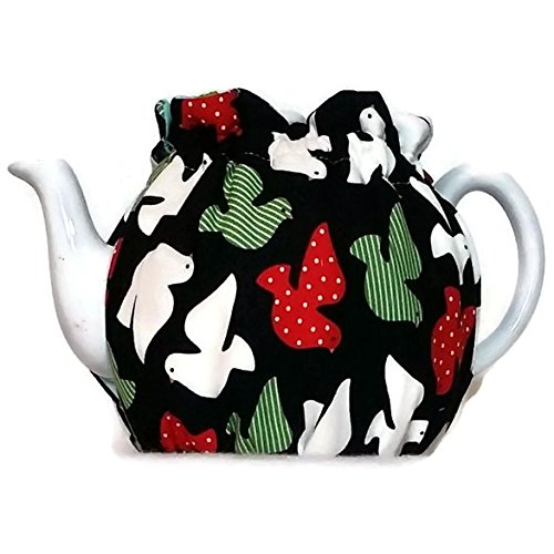 Dove Pot (Teapot Cozy, quilted tea warmer with White, Green and Red doves on Black for a 5-8 cup teapot #497)