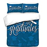iPrint 3Pcs Duvet Cover Set,Graduation Decor,College Celebration Ceremony Certificate Diploma Square Academic Cap,Blue and White,Best Bedding Gifts for Family/Friends