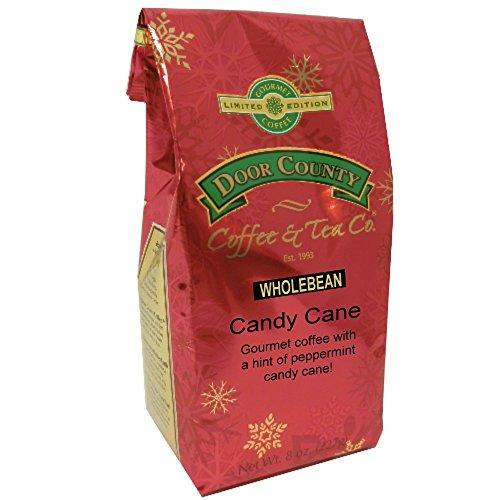 Door County Coffee Holiday Seasonal Blend, Candy Cane, Wholebean, 8oz Bag