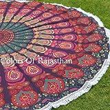 """COR's Hippie Mandala Tapestry Round Roundie Wall Hanging Beach Towel Throw Yoga Mat Round Tapestry 72"""""""