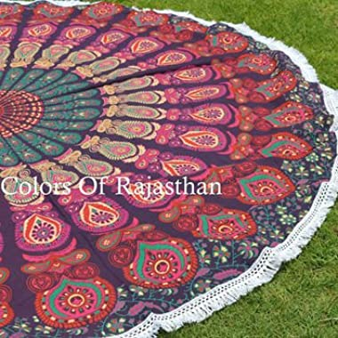 COR's Hippie Mandala Tapestry Round Roundie Wall Hanging Beach Towel Throw Yoga Mat Round Tapestry 72