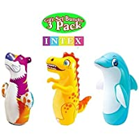 3D Bop Bag Blow Up Inflatable Tiger, Dinosaur & Dolphin. Gift Set, All 3 Designs.