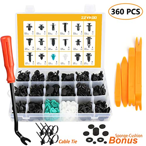 Body Clip Set (EZYKOO 360 Pcs Auto Push Clips & Fasteners Set - 18 Most Popular Size Plastic Push Rivets Clips Kit -Car Door Panel Trim Clips for BMW,Toyota, Honda, Benz, Nissan, Subaru, Mazda etc)