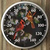 Springtime Cardinals Thermometer by Rosemary Millette