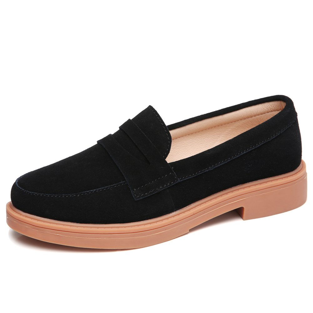 YKH-YX1818heise40 Womens Casual Penny Loafers Comfortable Suede Slip On Shoes Black 8 B(M) US