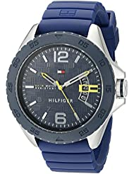 Tommy Hilfiger Mens 1791204 Stainless Steel Casual Sport Watch With Blue Silicone Band
